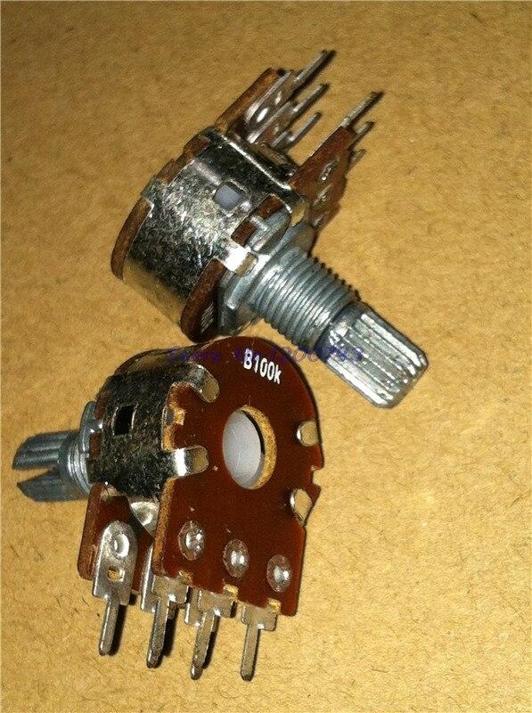 30pcs/lot B1K B2K B5K B10K B20K B50K B100K B500K 6Pin Shaft WH148 Amplifier Dual Stereo Potentiometer 1K 2K 5K 10K 50K 100K 500K