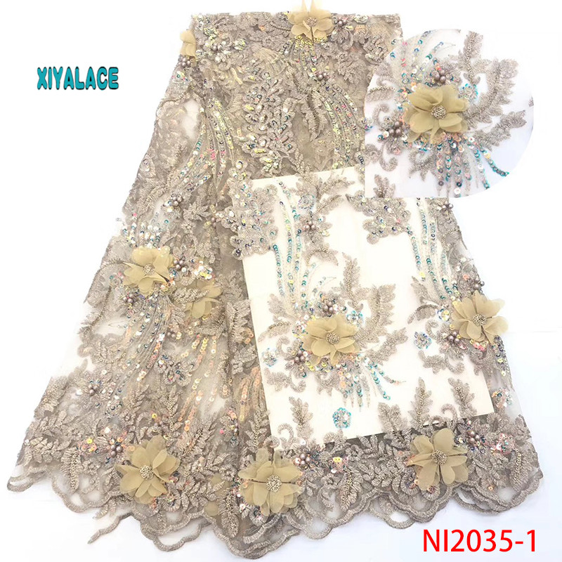 Latest African Tulle Lace Fabric 2019 High Quality Nigerian Lace 3D Flower Sequins French Net Lace Fabric For Dress YANI2035B-1
