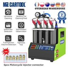 Mrcartool V308車の燃料噴射装置テスター洗浄機オートバイガソリンインジェクターテスタークリーナー4シリンダーvs autool CT160