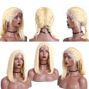 Image 2 - 613 dantel ön İnsan saç peruk düz kısa postiç 150 yoğunluk bal sarışın şeffaf dantel peruk Dolago renkli peruk Remy