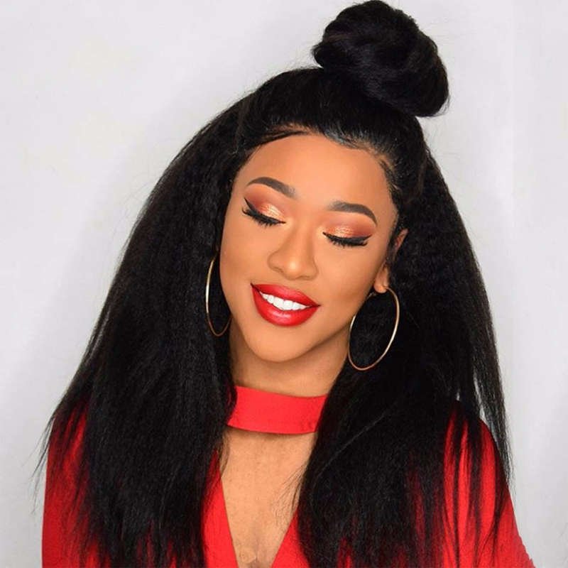 Lace Closure Wig Lace Human Hair Wigs Kinky Straight Closure Wig For Black Women Pre Plucked Dorisy Peruvian  Remy Lace Wig
