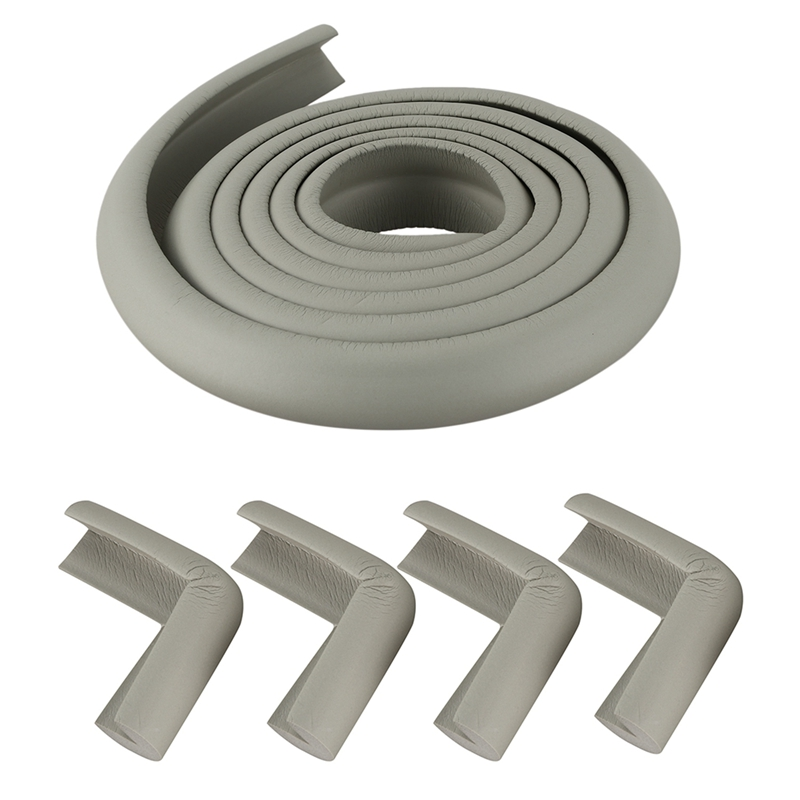 5 Pcs Gray Protector Cushion: 1 Roll 2M Children Protection Table Guard Strip & 4Pcs Child Baby Safety Desk Table Edge Cover Gua