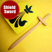 Shield And 60cm Sword Solid Wood Stick Knife Toy Cosplay Per