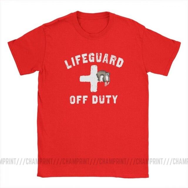 Hommes T-Shirt hors service paresseux sieste sauveteur Humor coton t-shirts à manches courtes rouge sauveteur uniforme T-Shirt vêtements grande taille