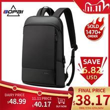 BOPAI Slim Laptop plecak mężczyźni 15.6 Cal praca w biurze kobiety plecak torba biznesowa Unisex czarny Ultralight plecak cienki plecak