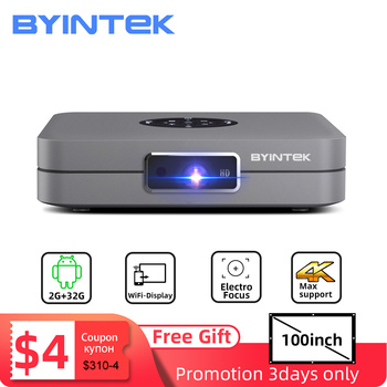Free 100inch Screen BYINTEK U20 Mini 3D 4K Full HD Android Wifi Smart Portable LED DLP Projector 1080P Beamer for Smartphone orimag p6 portable smart mini dlp led wifi projector