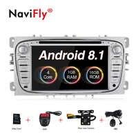 จัดส่งฟรี mic แผนที่ของขวัญ 2din Android8.1 รถวิทยุ gps cassette สำหรับ ford Focus Mondeo Galaxy รถ dvd player BT Ipod mirrorlink