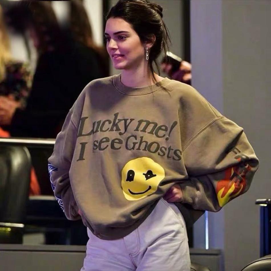 Kanye West Graffiti Letter Print Plus Velvet Sweatshirt Men And Women Harajuku Fleece Hoodie Hip Hop Stranger Things Hooded