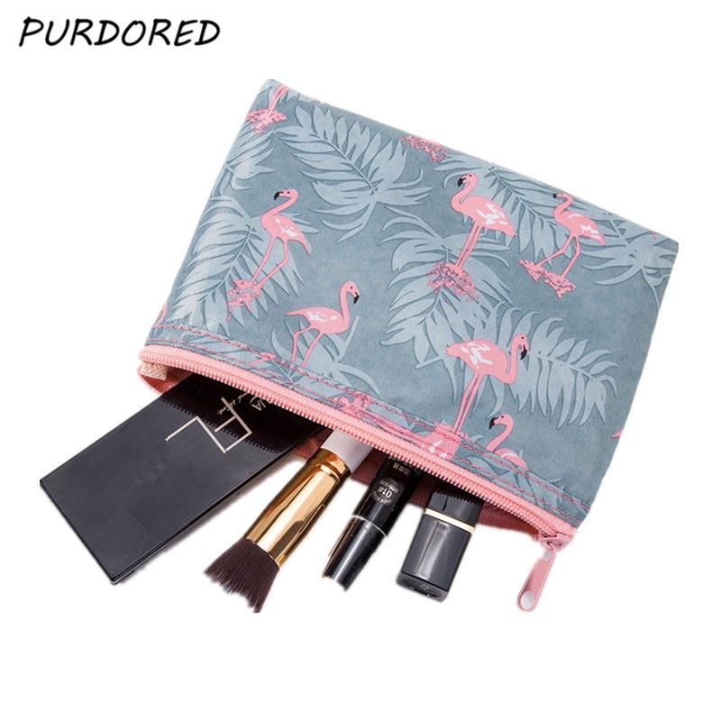 PURDORED 1 Pc Portable Women Flamingo Cosmetic Bag Travel Makeup Bag  Waterproof Cosmetic Organinzer  Toiletry Kits Dropshipping
