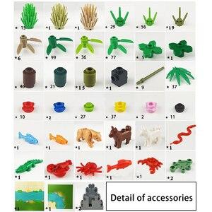 Image 4 - Rainforest Baseplate Parts Animal Green Grass Jungle Bush Flower Tree Plants Building Blocks DIY MOC Assemble Children Toy Gifts