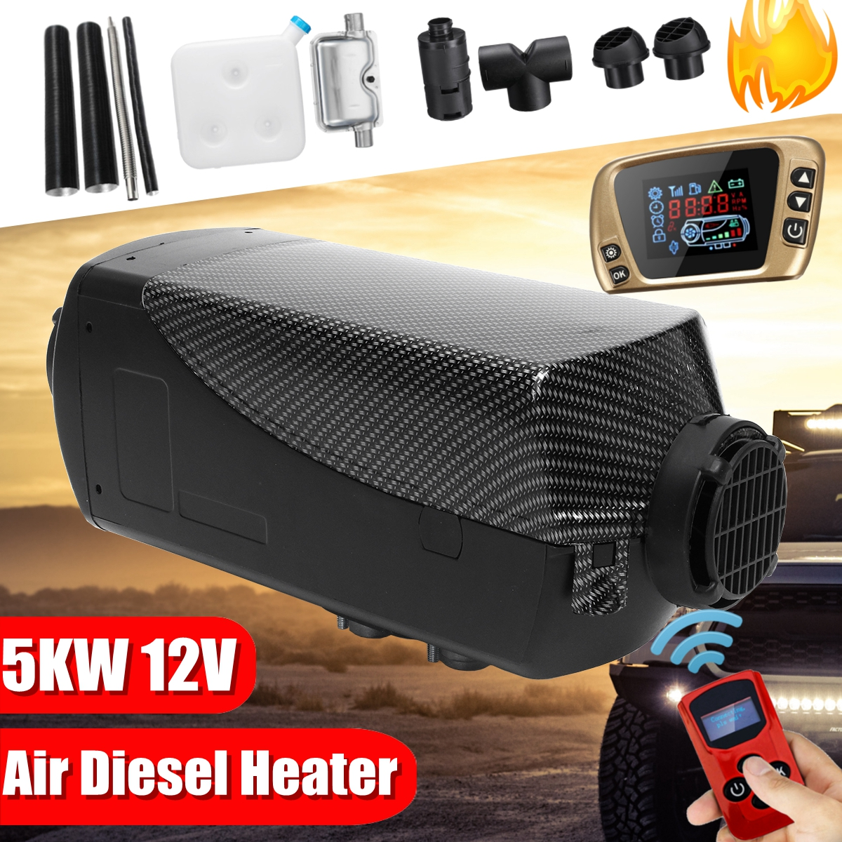HCalory 5KW 12V Diesels Air Parking Heater Air Heating LCD Switch With Silencer And Remote Control For Boats Car Trailer Heater