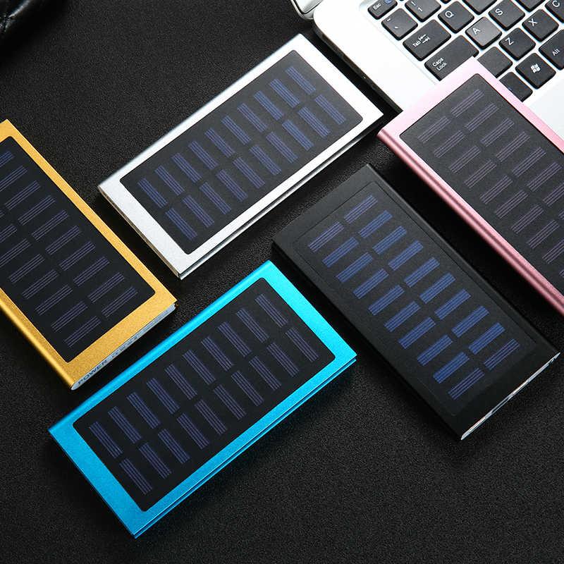 Solar Power Bank 30000 MAh Baterai Eksternal 2 USB LED Portable Powerbank Ponsel Solar Charger untuk Xiaomi iPhone Huawie