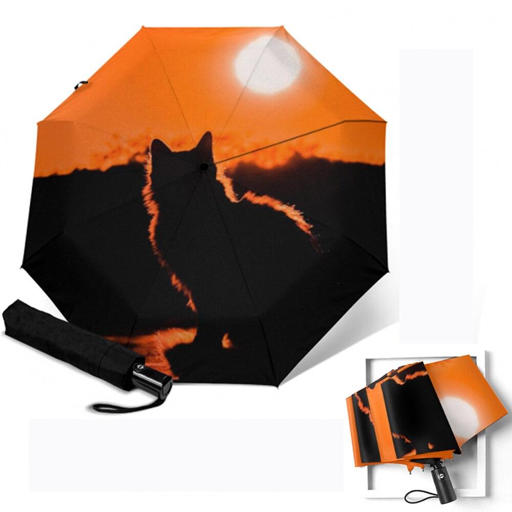 Orange Cat Abstract Painting Custom Unique Durable Custom Foldable Umbrella