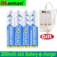 High quality 1.2V 3800mAh NI-MH AAA Pre-Charged Ni-MH AAA Rechargeable Battery 3A For Toys Camera Microphone Batteries + Charger