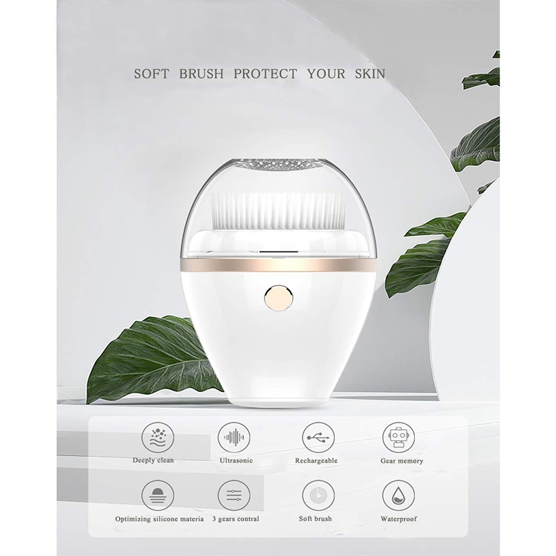 Sonic Facial Cleansing Brush,Waterproof Electric Wireless Rechargeable with 2 Speed Models, Deep Cleaning with 2x Washable Heads
