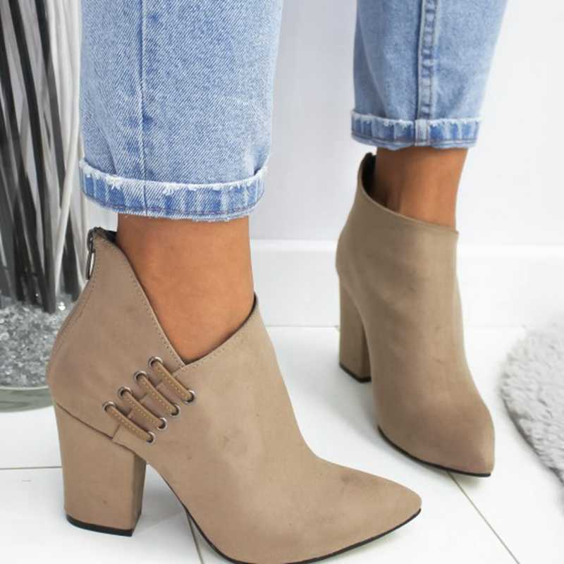 LOOZYKIT 2019 yeni moda kadın ayakkabı ayak bileği seksi bot kısa çizmeler yüksek topuk moda sivri avrupa ayakkabı kadın artı boyutu 35-43