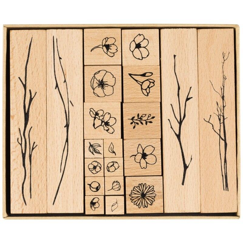 20Pcs/Lot Vintage Flowers Branch Decoration Stamp Wooden Rubber Stamps For Scrapbooking Stationery DIY Craft Standard Stamp