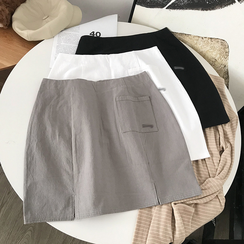 Stock WOMEN'S Dress Overstock Solid Color Versatile Skirt College Style Sheath Short Skirt Women's 11.23