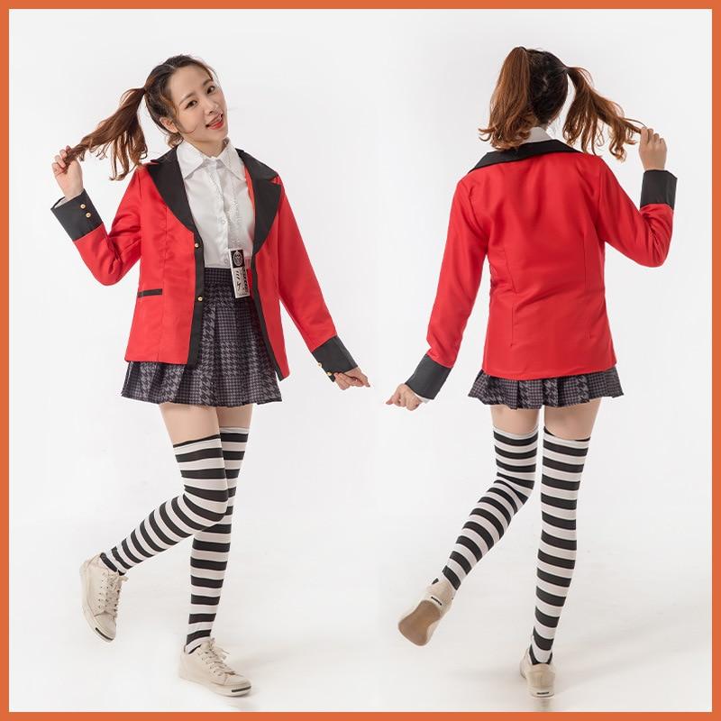 Yomoduki Runa Cosplay Costume Kakegurui Compulsive Gambler Runa Cosplay Wig and Orange Hooded Jacket JK Uniforms0 (7)