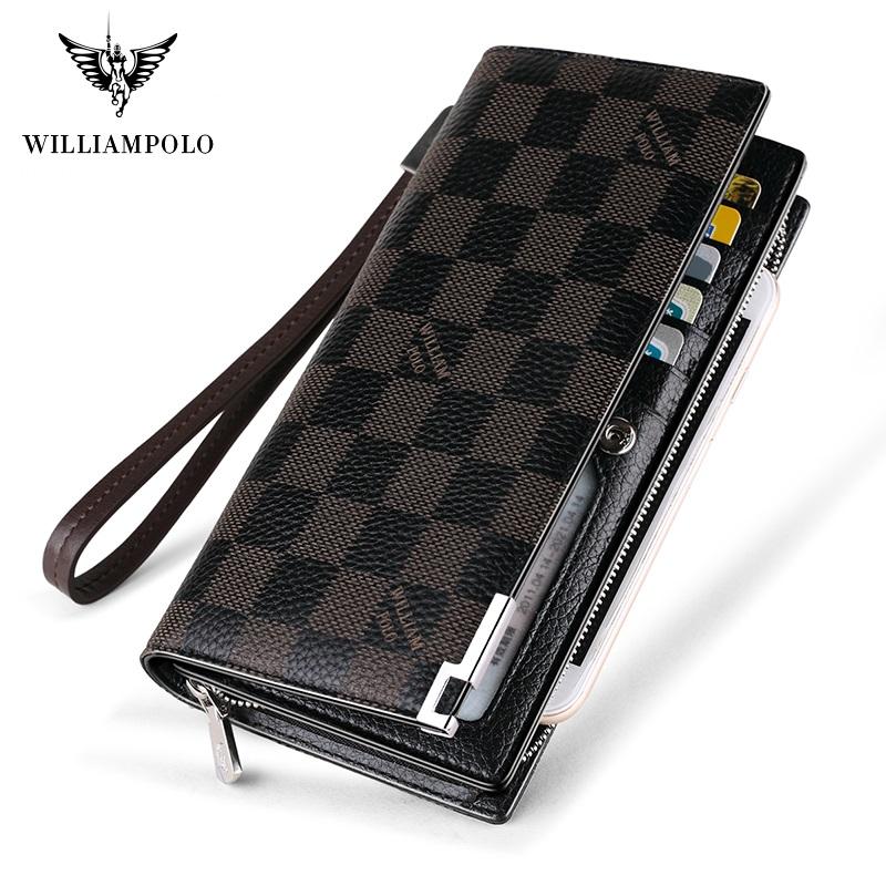 WilliamPolo Long Wallets For Men Leather RFID Blocking Bifold Wallet With Zipper Luxury Brand Zipper Men Clutches Credit Cards