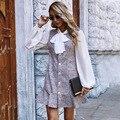 Лидер продаж Женская новая бабочка воротник; Рукав-фонарик с оборками платье на осень и зиму, женская обувь