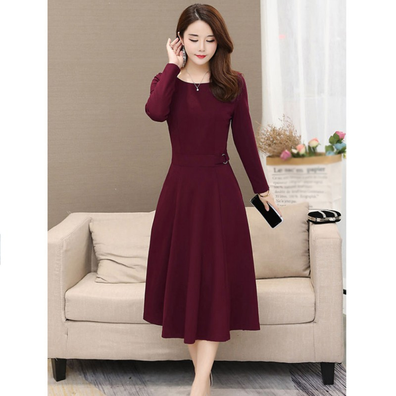 B Temperament Women Dress Autumn Winter Sexy Round Dress Neck Over The Knee Long Sleeve Sexy Simple Solid Color Slim Dress*