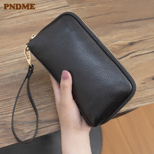 PNDME first layer cowhide ladies black clutch casual simple soft genuine leather credit card wallet for women female phone purse