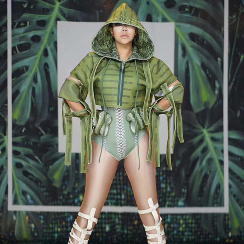 Nightclub Rompers Womens Jumpsuit New  National Day Festival Party Green Army Style Stage Wear African Dresses For Women VDB995