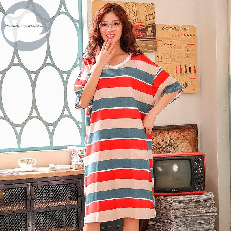 Brand  Knitted Cotton O-neck Women Short Cartoon Sleepwear Girl Nightgowns Nightwear Nightdress Sleepwear Home Sleepshirts XXXL