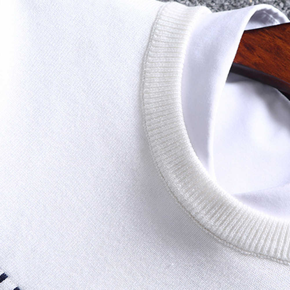 Hot Fashion Ukuran Cina Blok Patchwork O Leher Lengan Panjang Rajutan Top Blus Polyester Spandex Kasual Hangat Pria Sweater