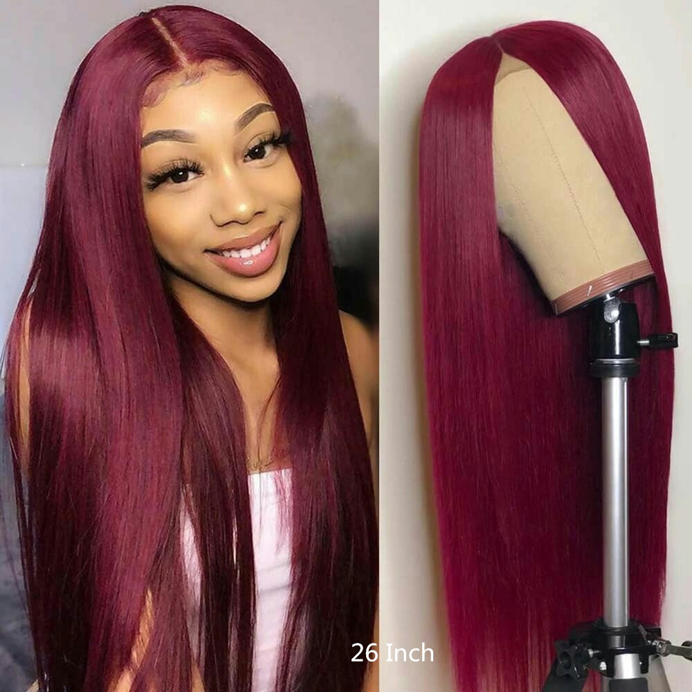 13x4 Lace Front 99j Wig Straight Human Hair Pre Pluck For Women Ombre Colored 99j Lace Front Wigs Preplucked Burgundy Human Hair