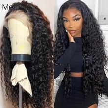 Melodie kinky curly 13x4 frente do laço perucas de cabelo humano 26 28 30 polegadas 4x4 fechamento onda de água profunda peruca de cabelo frontal do laço brasileiro