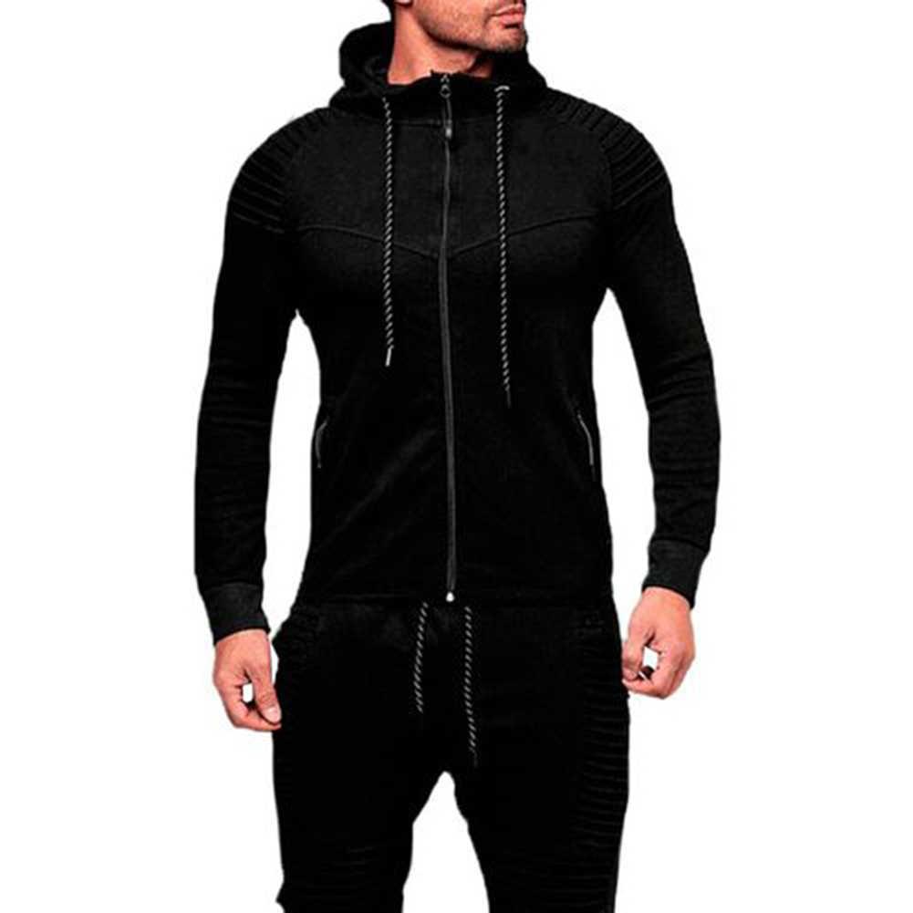 남자 스포츠 캐주얼 후드 착용 지퍼 패션 조수 자카드 후드 양털 재킷 가을 스웨터 가을 겨울 코트 толстовеи