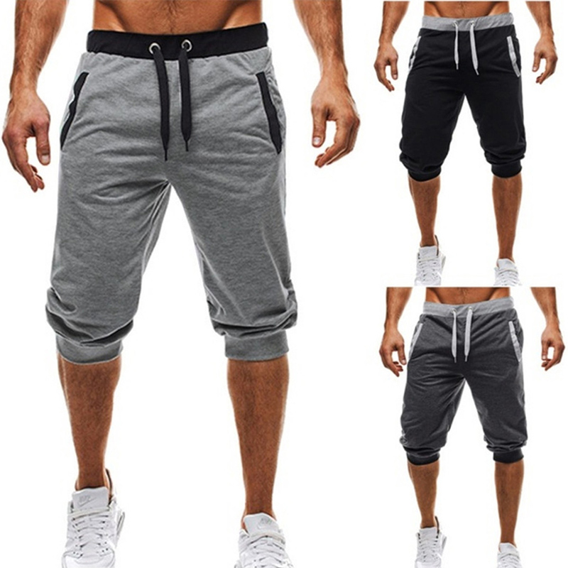 Men's Five-Point Pants Fashion Knee Length Casual Patchwork Sweat Pant Slim Fit Fitness Pants Man Capris