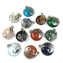 Pedra natural cristal redondo pingente phoenix surround encantos pingentes para fazer jóias diy colar acessórios reiki 25x30mm