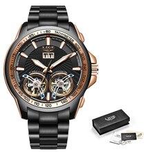 Automatic Clock Wristwatch Top-Brand Menchanical Double-Tourbillon Luxury LIGE Waterproof