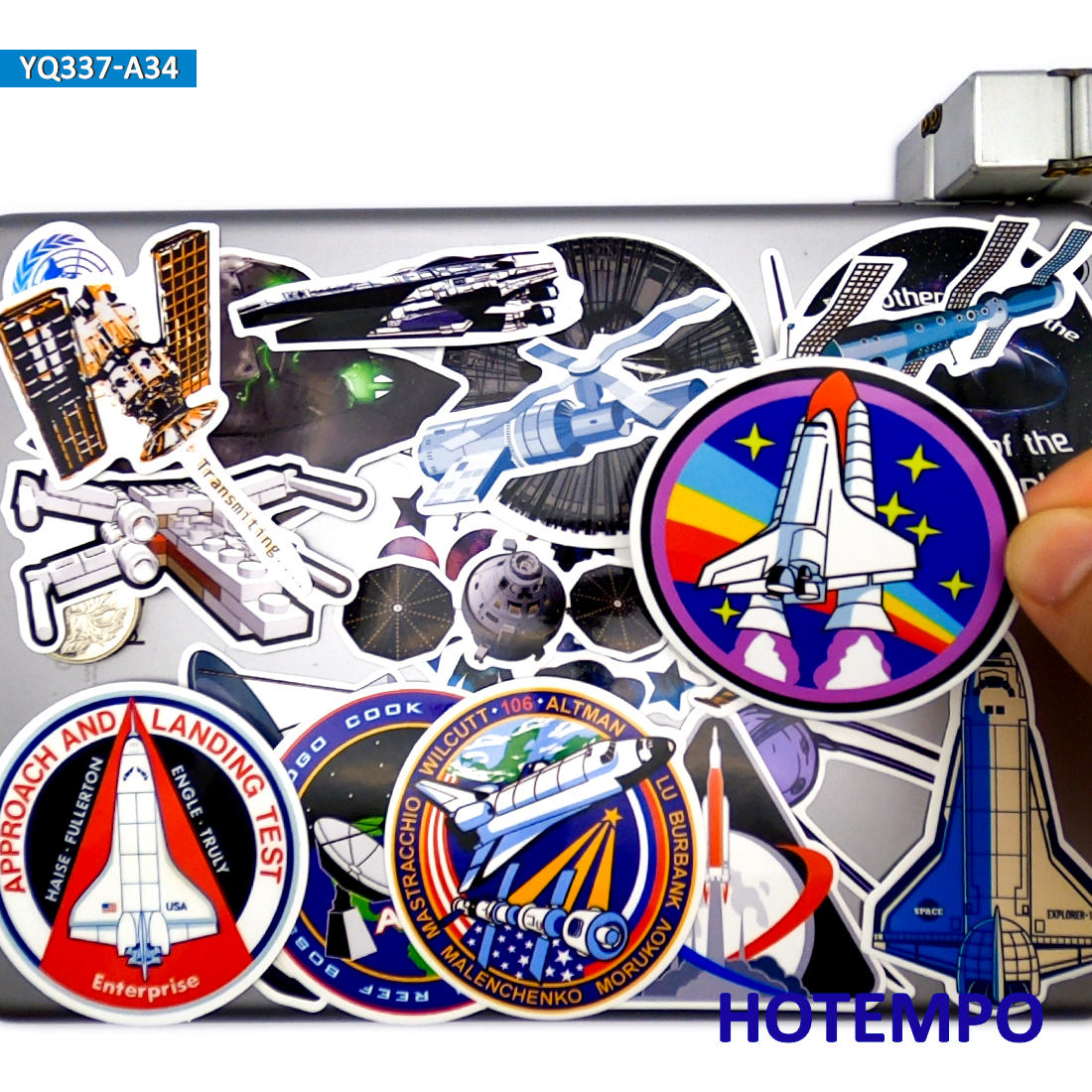34pcs Space Shuttle Ship Satellite Aircraft Style Stickers Toys for Kids DIY Stationery Phone Laptop Suitcase Pad Decals Sticker