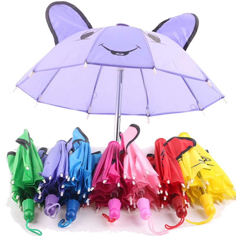 Cute Pattern & Solid Color Sun Umbrella Fit 18 Inch America&43 Cm Born Baby Doll Clothes Accessories Our Generation Girl's Gift