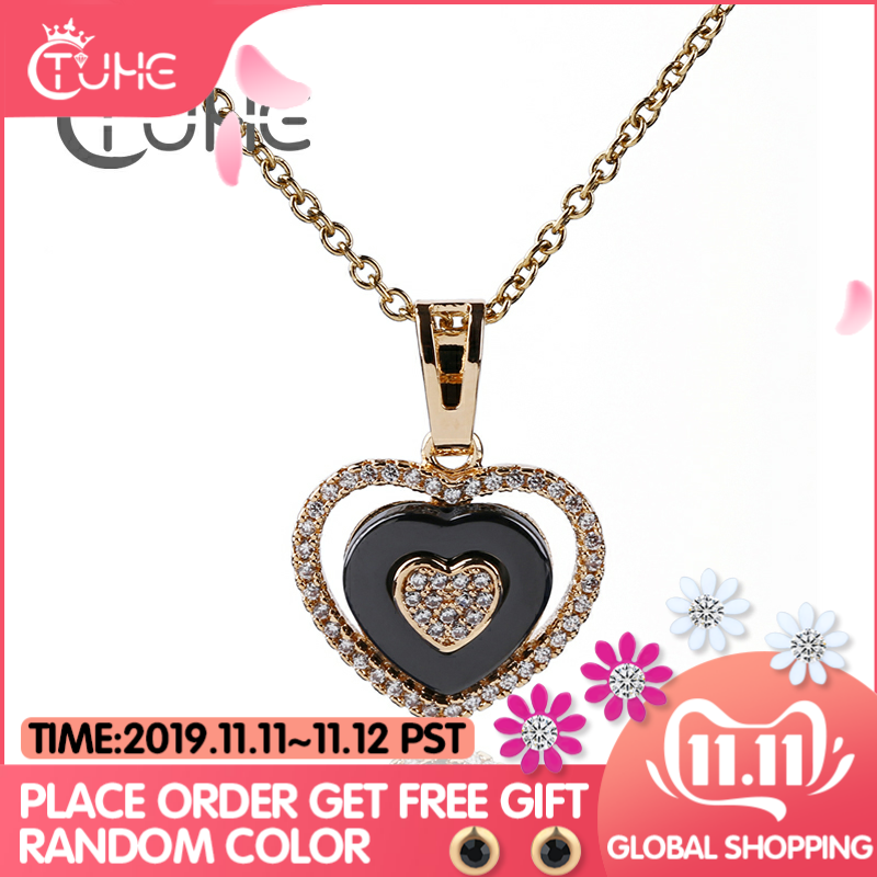 585 ouro rosa três concêntrico amor coração zircônia cúbica colares & pingentes preto colar de cerâmica jóias de casamento para mulher