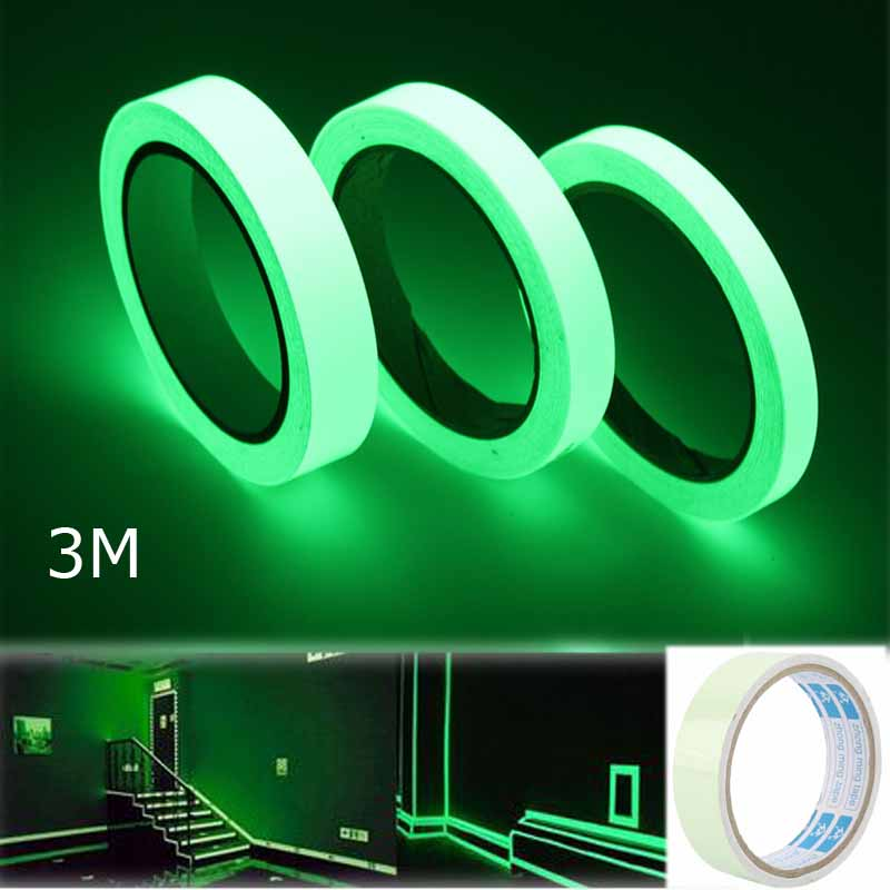 3M Outdoor Luminous Reflective Tape Stickers Glow Self-adhesiveTape Car Bicycle Stickers DIY Luminous Light Warning Night Tapes