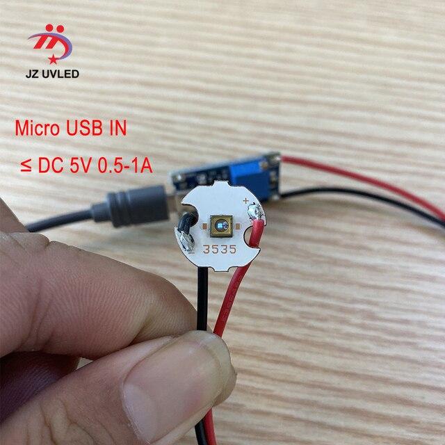 5 pièces 275nm UVC perles de lampe à LED pour équipement de désinfection UV 265nm 285nm SMD 3535 puce LED violet profond lumière ultraviolette USB 6V