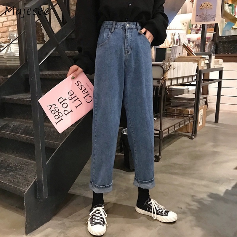 Jeans Women Plus Size 5XL Denim Blue Ankle-length Elegant Simple Straight Loose Womens Trousers All-match Student BF Harajuku