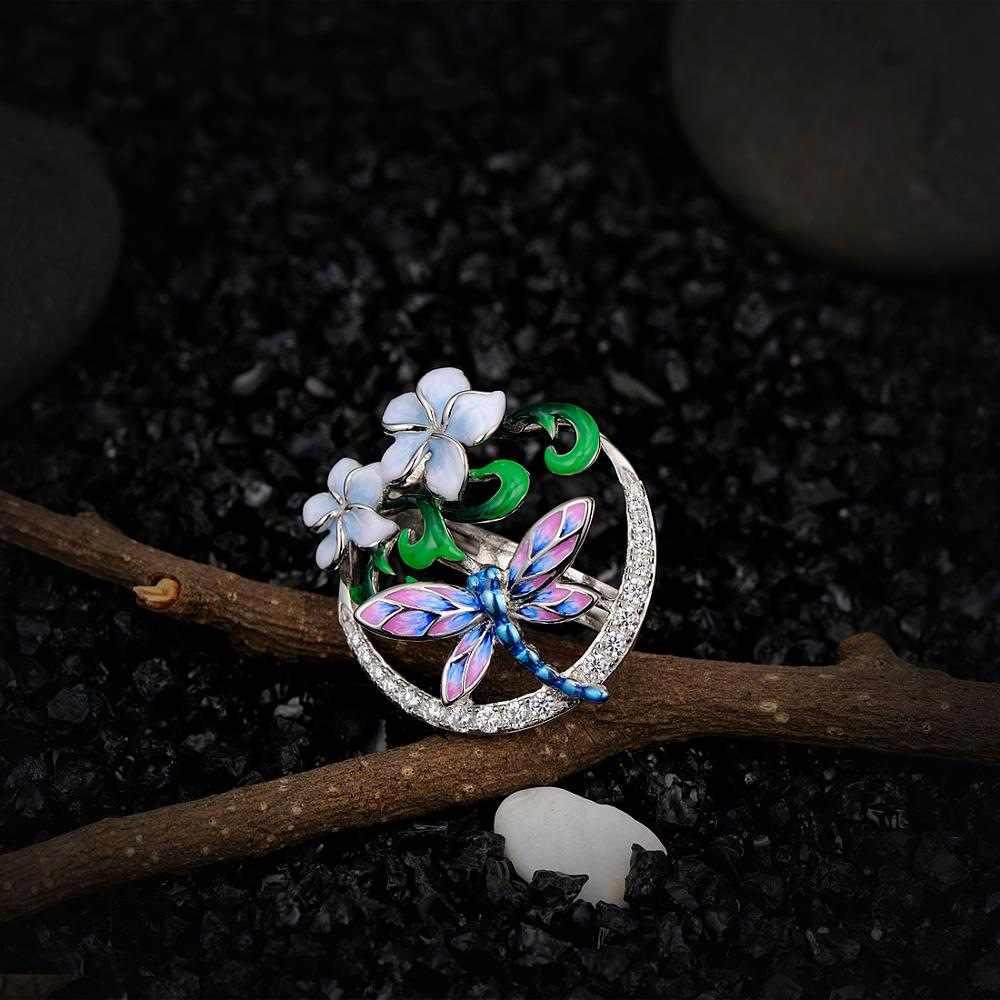 โบฮีเมียสไตล์Dragonfly Enamelออกแบบดอกไม้จี้สร้อยคอเครื่องประดับค็อกเทล