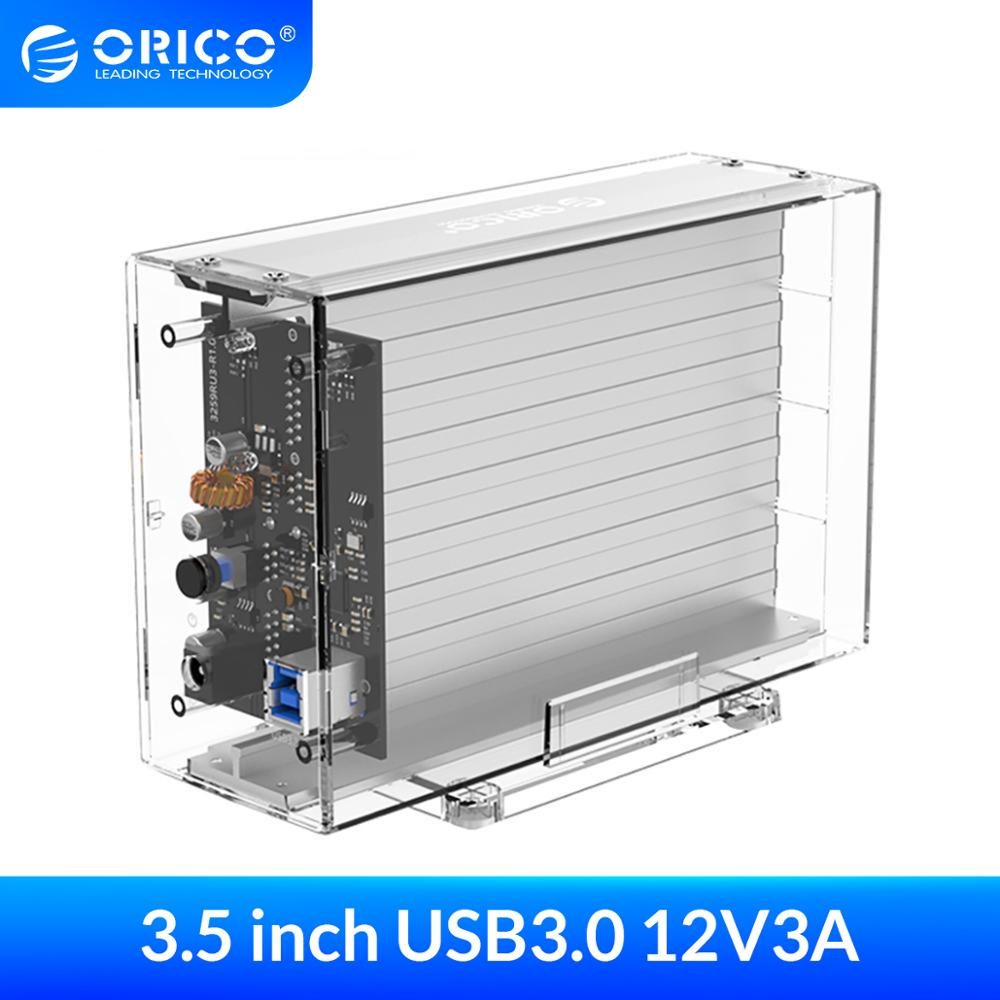 ORICO Dual 3 5   USB3 0 HDD Case 6Gbps SATA to USB 3 Transparent With Aluminum HDD Dock Station UASP 24TB Add 12V Power Adapter