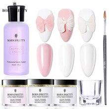 BORN PRETTY – Kit de poudre et de liquide acrylique, rose, blanc, transparent, pour extensions d'ongles, Nail Art professionnel