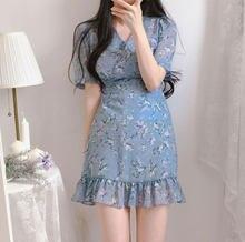 Sukienk-vestido de fiesta de flores con volantes para mujer, vestido blanco con escote en v, elegante, coreano, blanco, para playa y verano