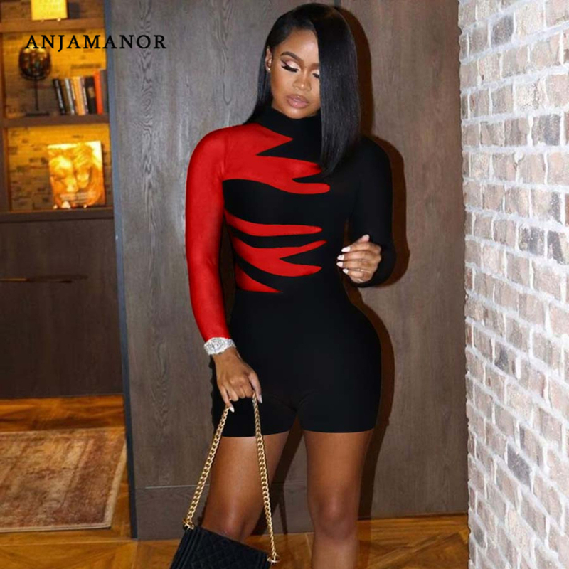 ANJAMANOR Fashion Print Shorts Rompers Womens Long Sleeve Bodycon Jumpsuit Sexy Club Outfits for Women Playsuit 2021 D44 CA24