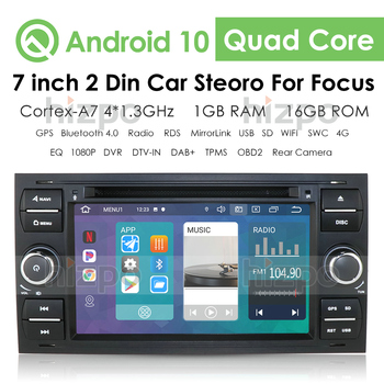 Radio 2 Din Car Android 10 HD Multimedia for Ford Focus C S MAX Transit Mondeo Player Touch Screen Auto Stereo Audio Bluetooth image