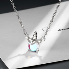 925 Sterling Silver Crystal Unicorn Charm Pendant Necklace For Women Gift Wedding Jewelry Choker Collar dz544(China)