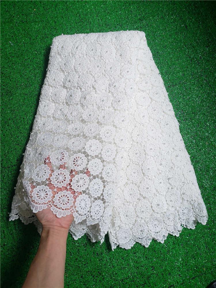 مصنع يقدم الدانتيل الأبيض النسيج عالية الجودة أحدث العلامة التجارية الأفريقية جبر الحبل الدانتيل بالحجارة النسيج للحزب فساتين NX969v-في دانتيل من المنزل والحديقة على  مجموعة 1
